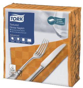 Tork Textured Orange Dinner Napkin