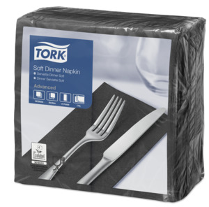 Tork Soft Black Dinner Napkin 1/8 Folded