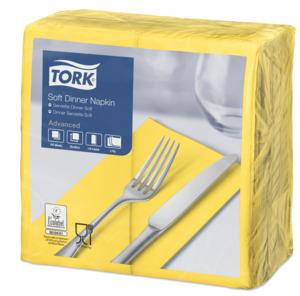 Tork Soft Yellow Dinner Napkin 1/8 Folded