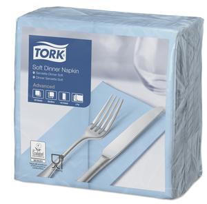 Tork Soft Light Blue Dinner Napkin 1/8 Folded