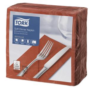 Tork Soft Terracottafarbene Dinnerserviette 1/8-Falz