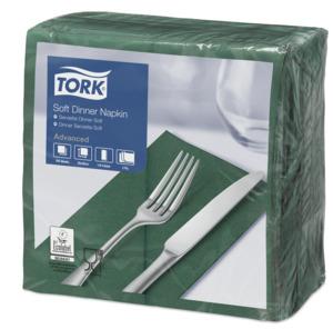 """""""Tork"""" minkštos sulankstytos (1/8) tamsiai žalios vakarienės servetėlės"""