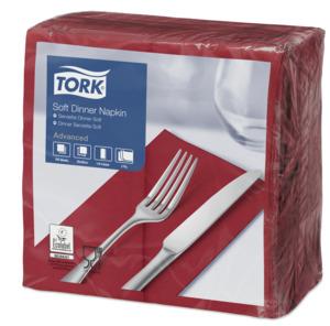 Tork Soft  Dinnerservietten Bordeauxrot 1/8 Falz