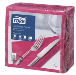 """""""Tork"""" minkštos tamsiai rožinės spalvos vakarienės servetėlės"""