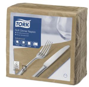 """""""Tork"""" minkštos šviesiai rudos vakarienės servetėlės"""