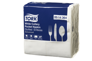 Tork®   White Quilted Emboss Cutlery Pocket Napkin 2 Ply