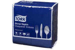 Tork®  Dark Blue Chequered Emboss  8  Fold Dinner Napkin 2 Ply