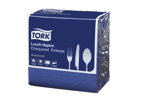 Tork®  Dark Blue Chequered Emboss Quaterfold Dinner Napkin 2 Ply