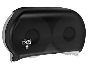 Tork Twin Jumbo Bath Tissue Roll Dispenser, 9 inch, Smoke