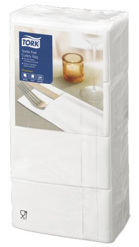 Tork Premium Textile Feel White Cutlery Bag Napkin