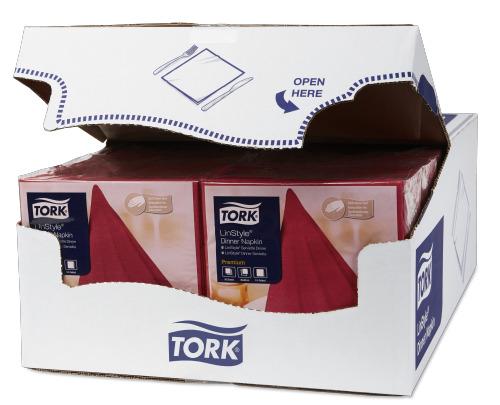 Tork Premium LinStyle® viininpunainen Dinner-lautasliina