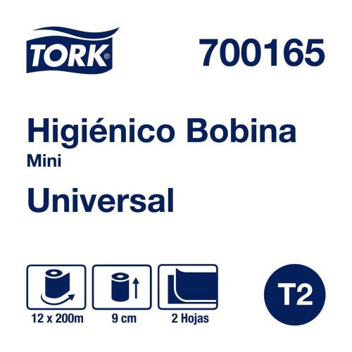 Tork Papel Higiénico en Bobina Universal Hoja Doble 12 pz / 200 mts