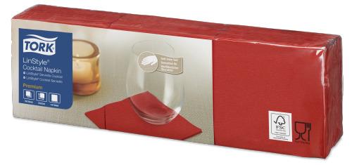 Tork Premium LinStyle® Rød Cocktailserviett