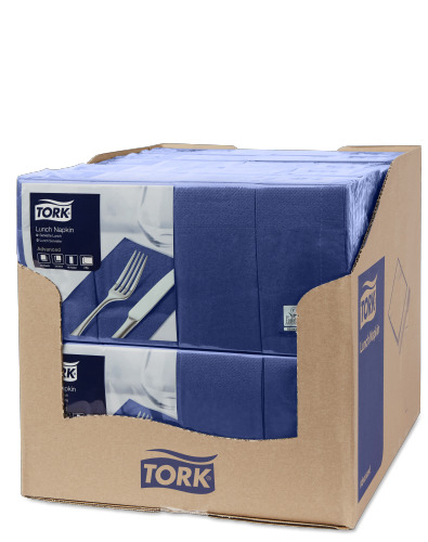 Tork Dark Blue Lunch Napkin 1/8 Folded