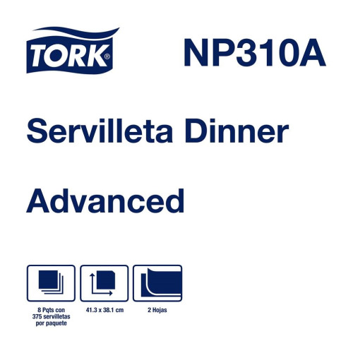 Tork Servilleta Dinner Advanced Hoja Doble 8 pq / 375 pz