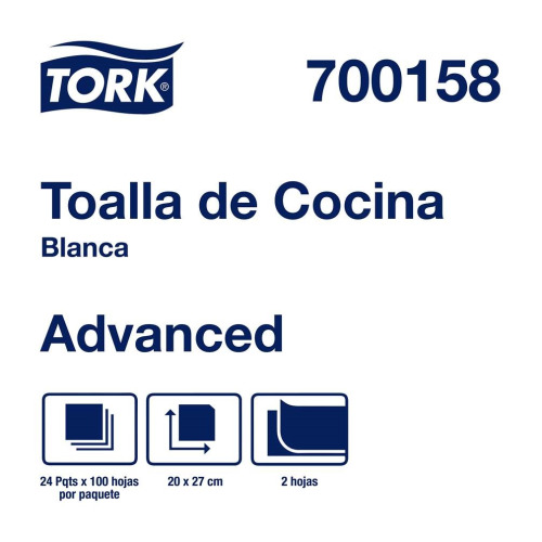 Tork Toalla De Cocina Advanced Blanca Hoja Doble 24 pz / 100 hjs