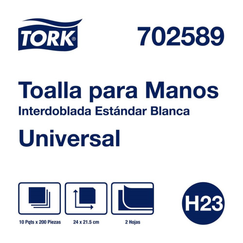Tork Toalla Universal Interdoblada Blanca Hoja Doble 10pz/200hjs