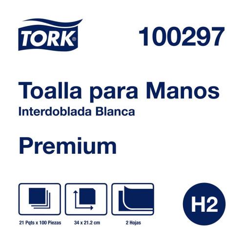 Tork Toalla Interdoblada Premium Blanca Hoja Doble  21 pq / 100 hjs