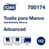 Tork Toalla Interdoblada Advanced Blanca Hoja Doble 12 pq / 250 hjs