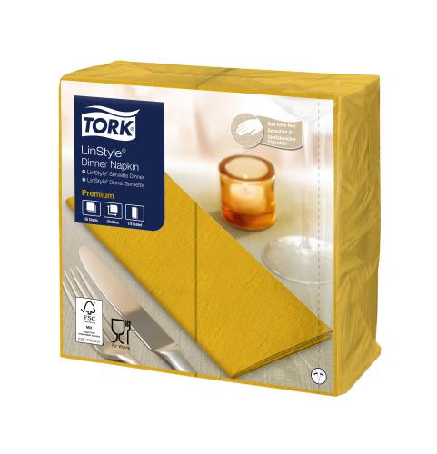 Tork Premium LinStyle® sinapinkeltainen Dinner-lautasliina 1/8-taitto