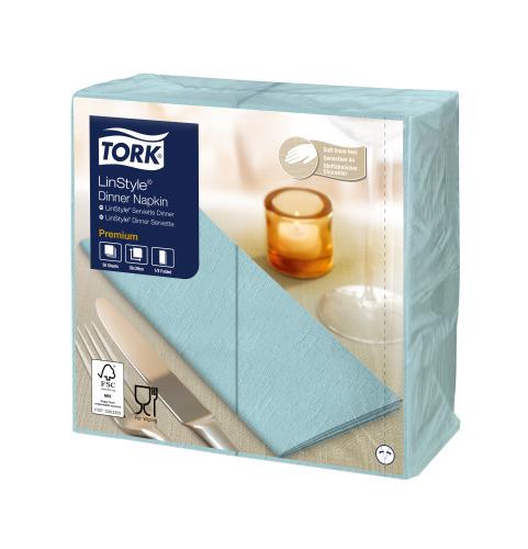 Tork Premium LinStyle® turkoosi Dinner-lautasliina 1/8-taitto