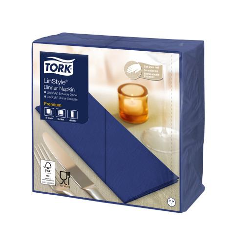 Tork Premium LinStyle® tummansininen Dinner-lautasliina 1/8-taitto