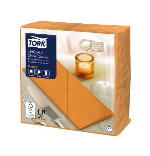 Tork Premium Linstyle® Orange Dinner Napkin 1/8 Folded
