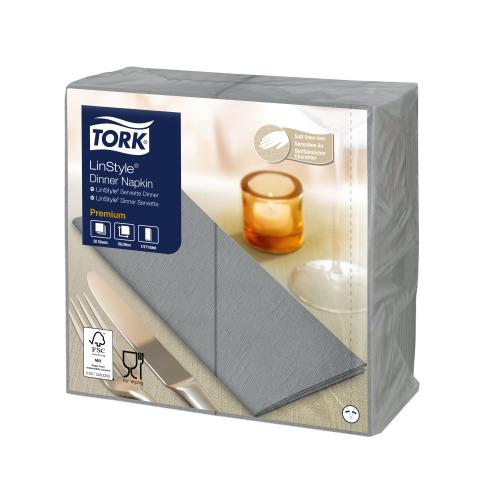 Tork Premium LinStyle® harmaa Dinner-lautasliina 1/8-taitto