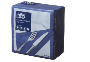 Tork®  Dark Blue Edge Emboss Quarterfold Lunch Napkin 2 Ply