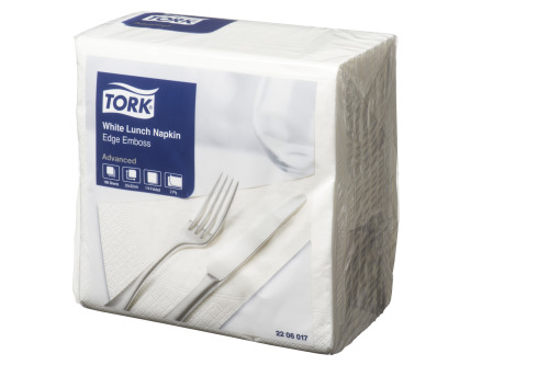Tork®  White Edge Emboss Quarterfold Lunch Napkin 2 Ply