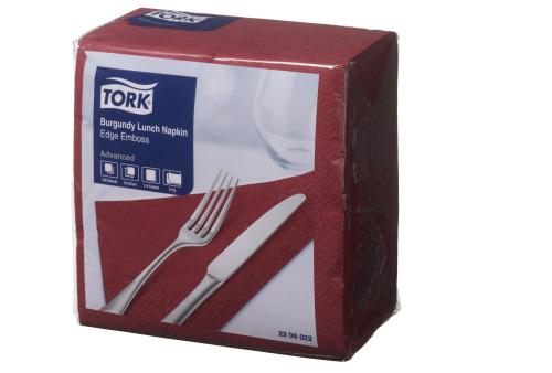 Tork®  Burgundy Edge Emboss Quarterfold Lunch Napkin 2 Ply