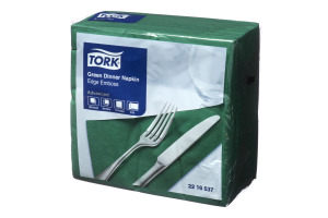 Tork® Green Emboss Quarterfold Dinner Napkins 2 Ply