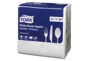 Tork®  White Quilted Emboss Quaterfold Dinner Napkin 2 Ply