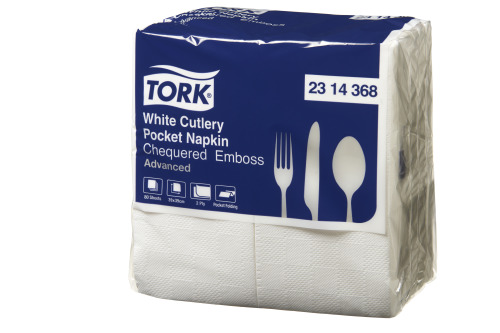 Tork®   White Chequered Emboss Cutlery Pocket Napkin 2 Ply