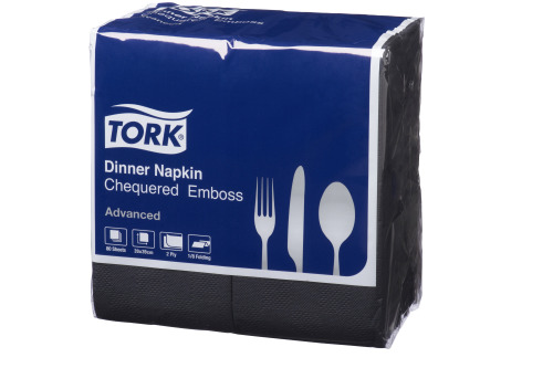 Tork®  Black Chequered 8 fold Dinner Napkin 2 Ply