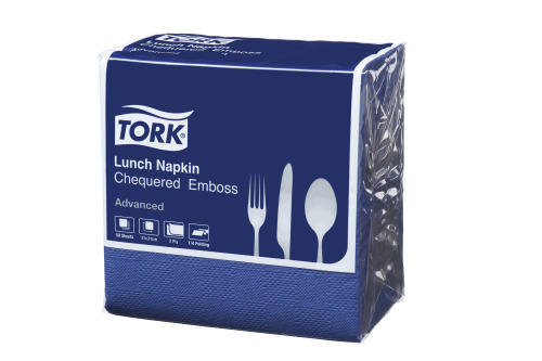 Tork®  Dark Blue Chequered Emboss Quaterfold Dinner Napkin 2 Ply