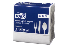 Tork®  Quilted Emboss white Quaterfold Lunch Napkins 2 Ply
