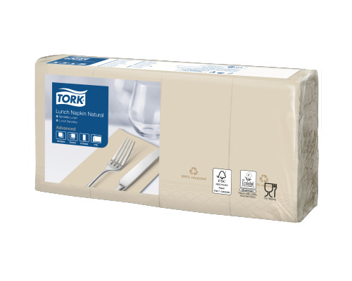 Tork Natural Environmental Print Lunch Napkin 1/8 Folded