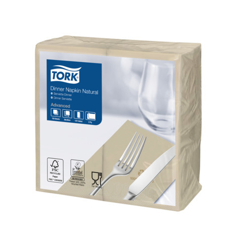 Tork Natural Environmental Print Dinner Napkin 1/8 Folded