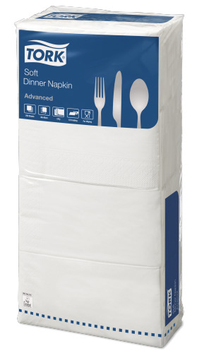Tork®  Soft White  Edge Emboss 8 fold Dinner Napkin 3 Ply
