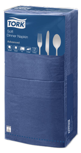Tork®  Soft Dark Blue Quaterfold Dinner Napkin 3 Ply