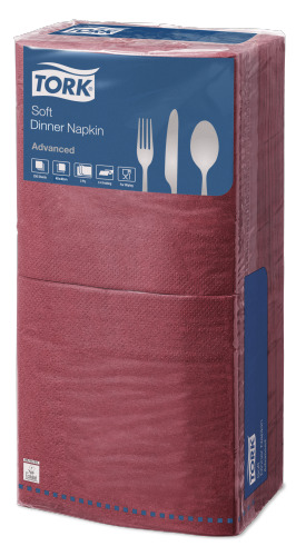 Tork®  Soft Edge Emboss Bordeaux  Quaterfold Dinner Napkin 3 Ply