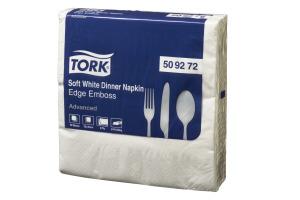 Tork®  Soft Edge Emboss Quaterfold White  Dinner  Napkin 3 Ply