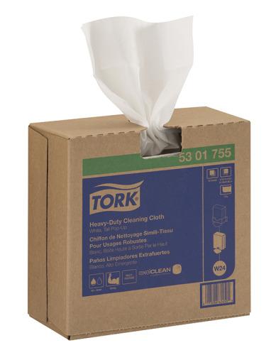 Chiffon simili-tissu de nettoyage Tork pour usages robustes, boîte à sortie par le haut