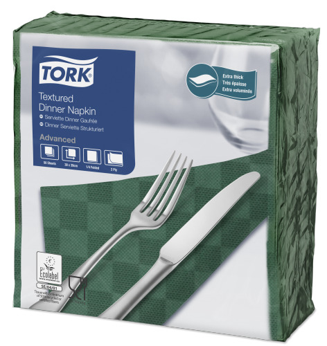 Tork Textured Dark Green Dinner Napkin