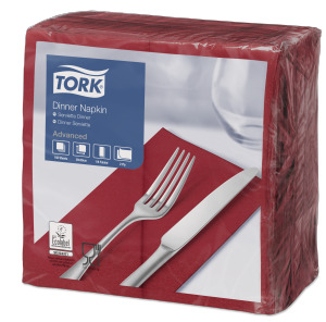 Tork Serviette Dinner, Bordeaux pliage 1/8