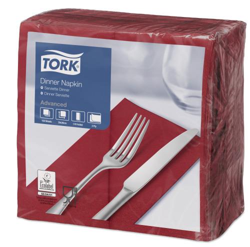 Tork Bordeaux Red Dinner Napkin 1/8 Folded