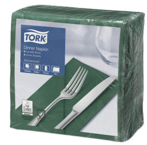Tork Tovagliolo Dinner verde scuro (piegato in 8)