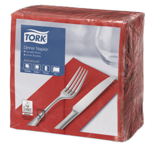 Tork Serviette Dinner, Rouge cerise pliage 1/8