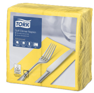 Tork Soft Yellow Dinner Napkin 1/8 Folded